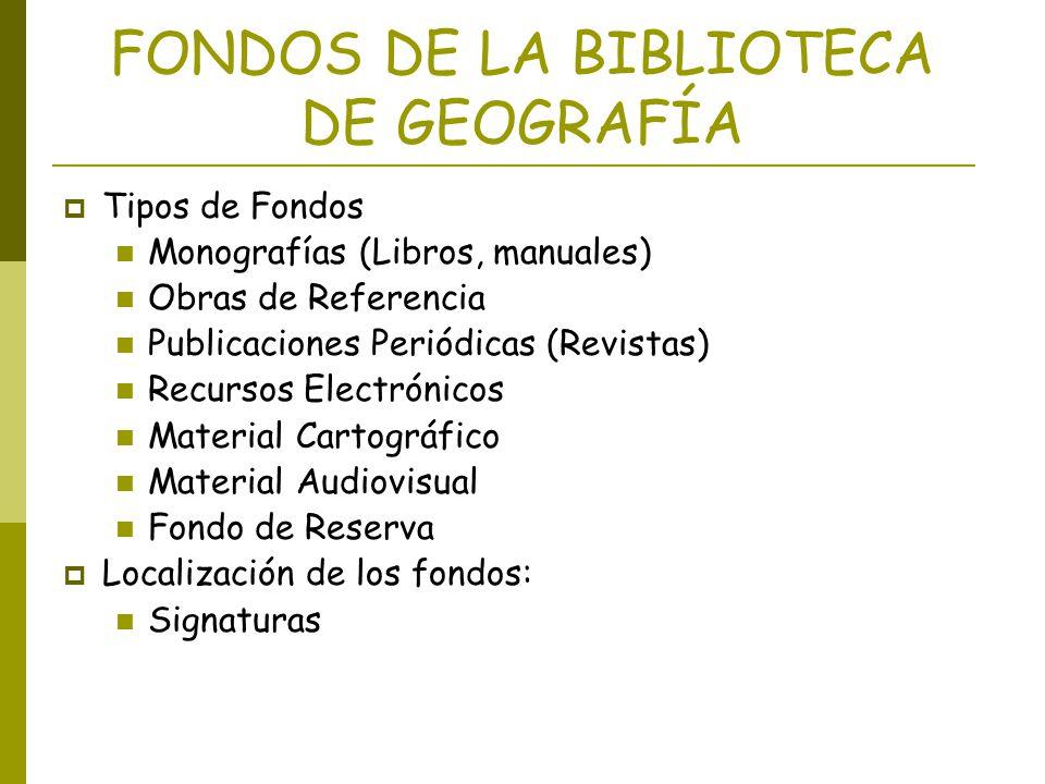 FONDOS DE LA BIBLIOTECA DE GEOGRAFÍA Tipos de Fondos Monografías (Libros, manuales) Obras de Referencia Publicaciones Periódicas (Revistas) Recursos E
