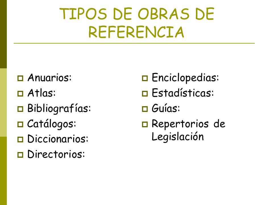 TIPOS DE OBRAS DE REFERENCIA Anuarios: Atlas: Bibliografías: Catálogos: Diccionarios: Directorios: Enciclopedias: Estadísticas: Guías: Repertorios de