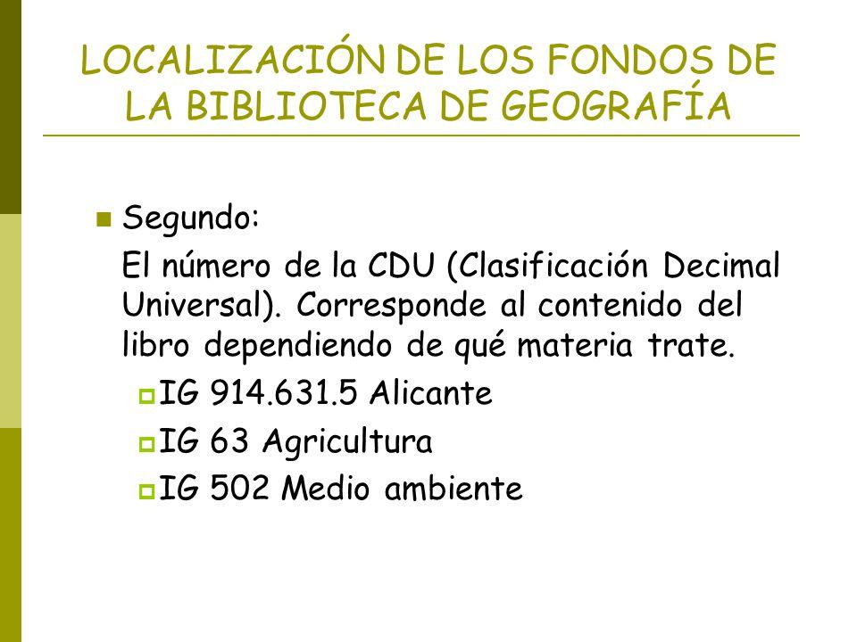 LOCALIZACIÓN DE LOS FONDOS DE LA BIBLIOTECA DE GEOGRAFÍA Segundo: El número de la CDU (Clasificación Decimal Universal). Corresponde al contenido del