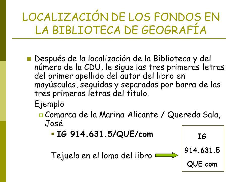 LOCALIZACIÓN DE LOS FONDOS EN LA BIBLIOTECA DE GEOGRAFÍA Después de la localización de la Biblioteca y del número de la CDU, le sigue las tres primera