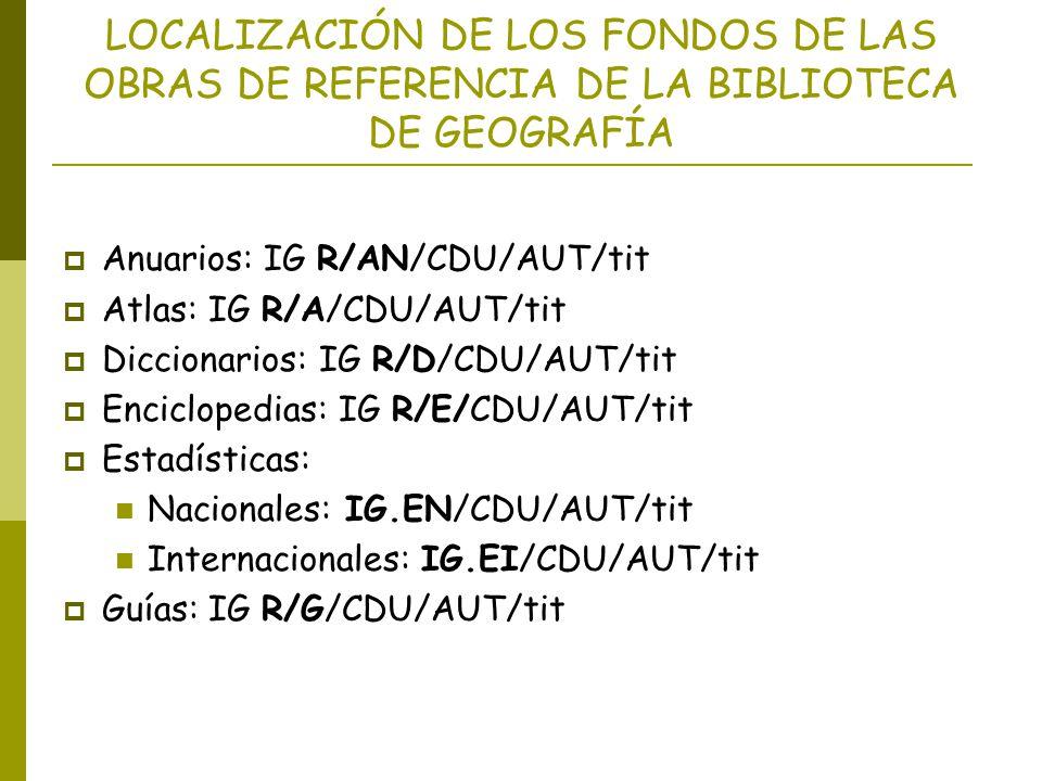 LOCALIZACIÓN DE LOS FONDOS DE LAS OBRAS DE REFERENCIA DE LA BIBLIOTECA DE GEOGRAFÍA Anuarios: IG R/AN/CDU/AUT/tit Atlas: IG R/A/CDU/AUT/tit Diccionari