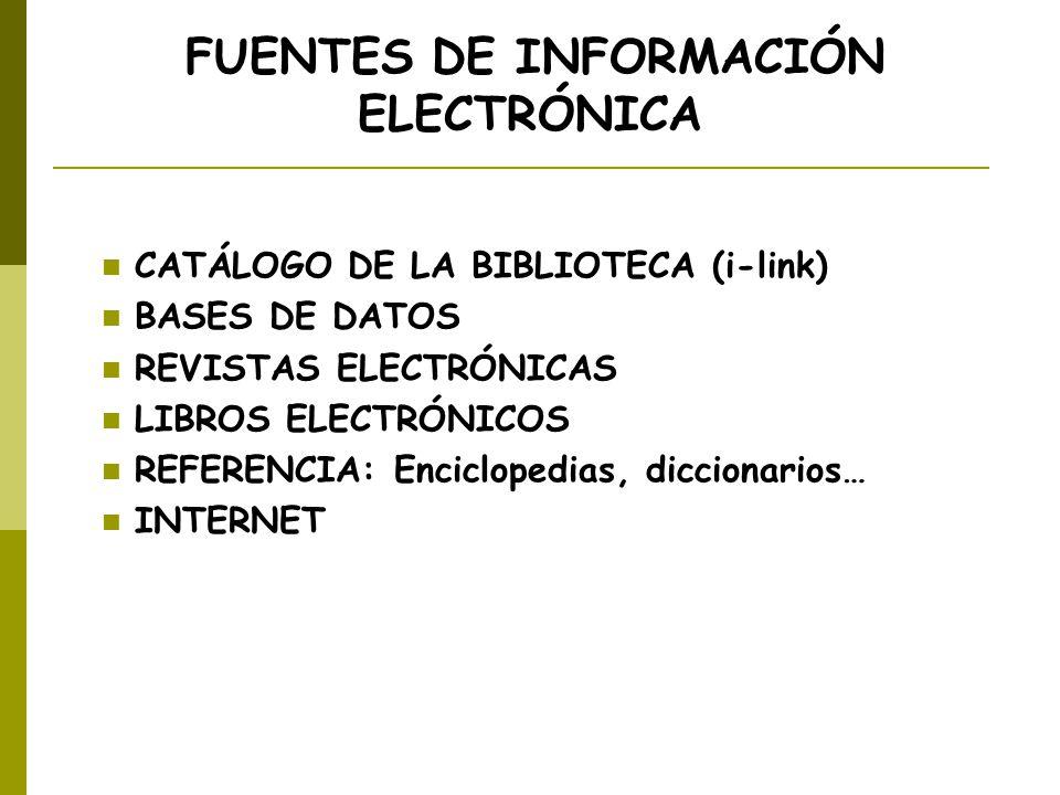 FUENTES DE INFORMACIÓN ELECTRÓNICA CATÁLOGO DE LA BIBLIOTECA (i-link) BASES DE DATOS REVISTAS ELECTRÓNICAS LIBROS ELECTRÓNICOS REFERENCIA: Enciclopedi