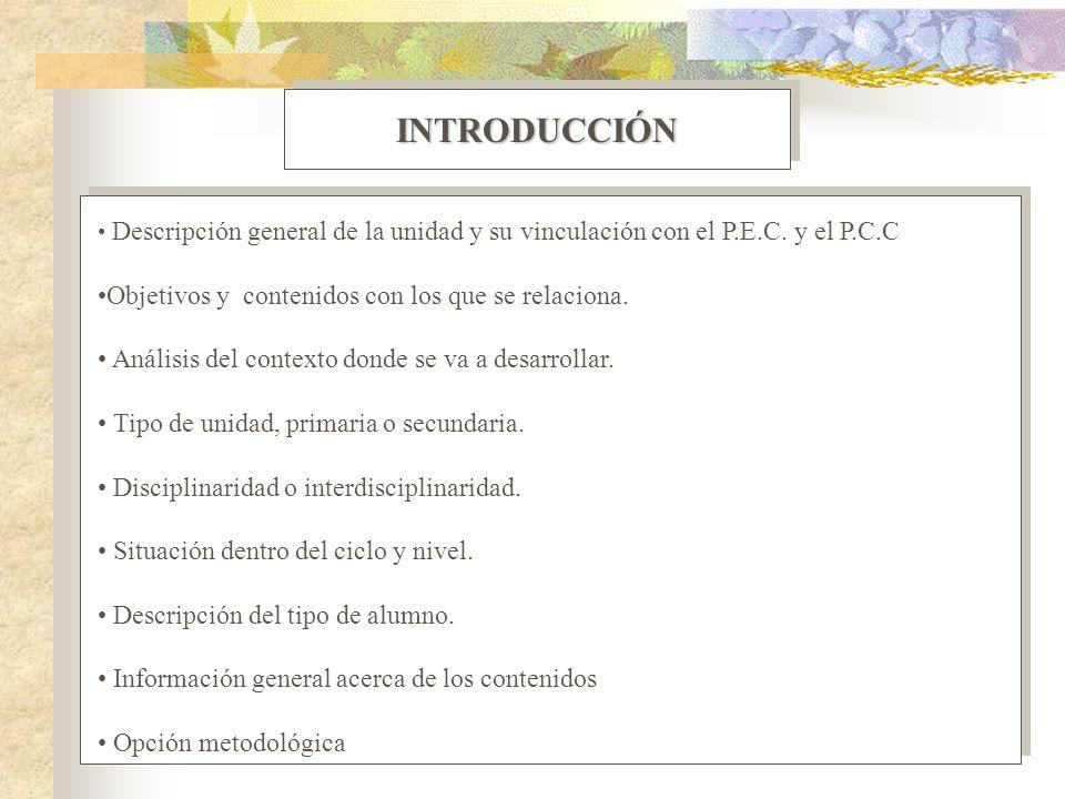 INTRODUCCIÓNINTRODUCCIÓN Descripción general de la unidad y su vinculación con el P.E.C. y el P.C.C Objetivos y contenidos con los que se relaciona. A