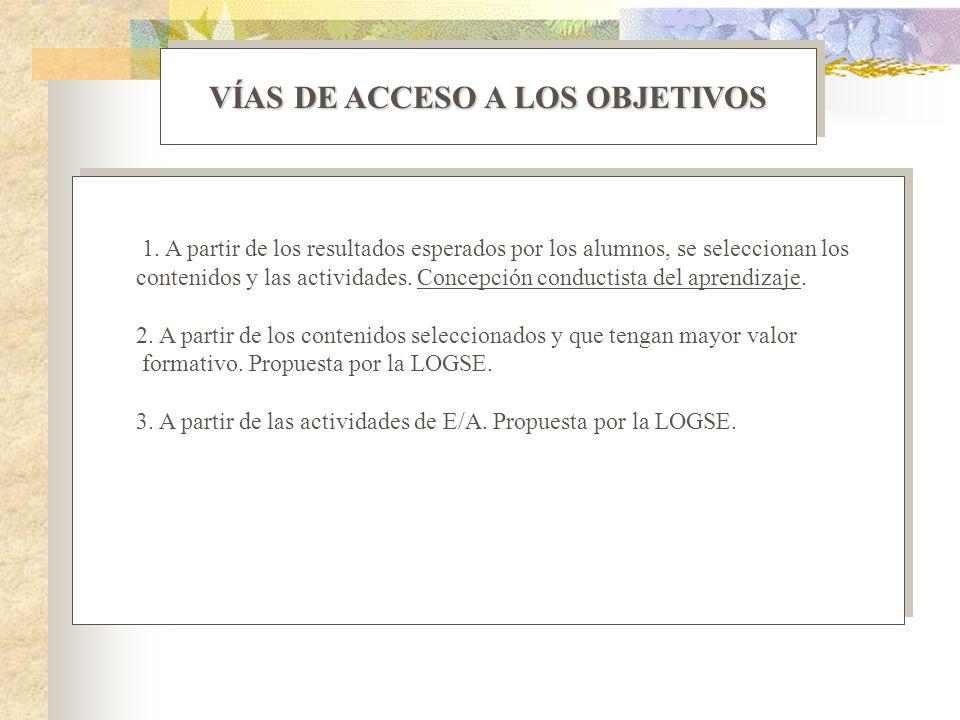 VÍAS DE ACCESO A LOS OBJETIVOS 1. A partir de los resultados esperados por los alumnos, se seleccionan los contenidos y las actividades. Concepción co