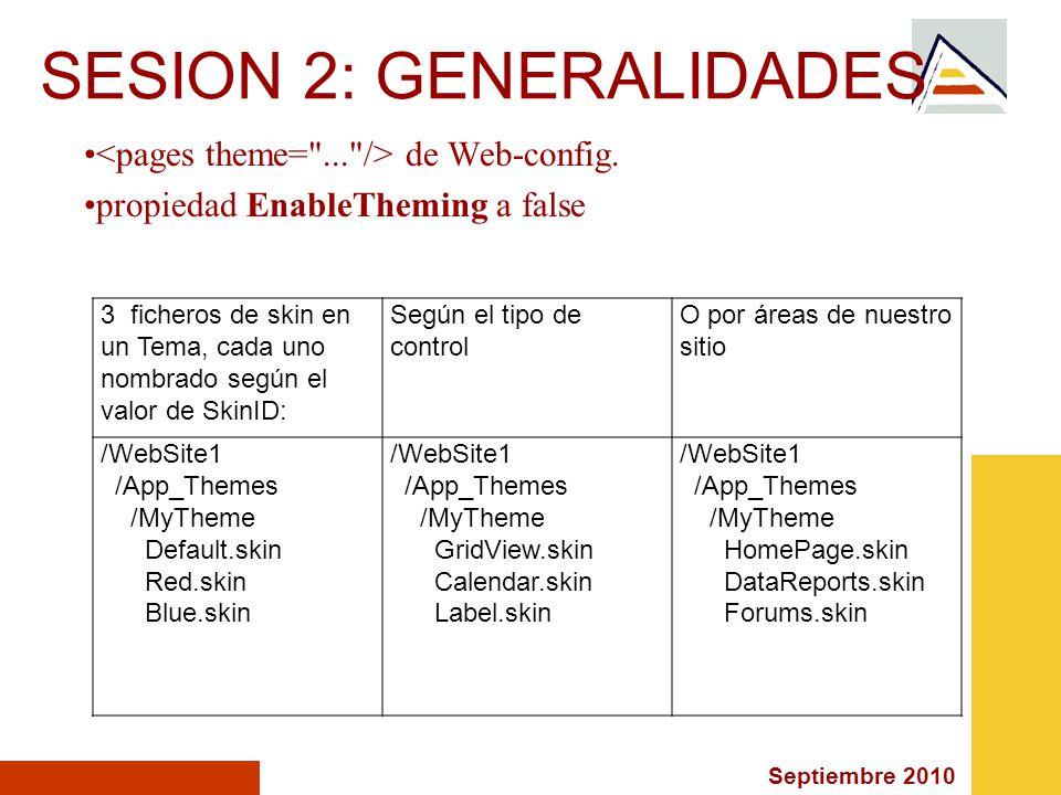Septiembre 2010 SESION 2: GENERALIDADES de Web-config. propiedad EnableTheming a false 3 ficheros de skin en un Tema, cada uno nombrado según el valor