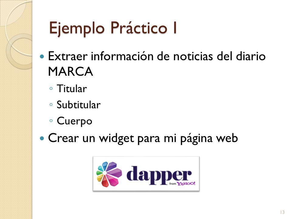 Ejemplo Práctico I Extraer información de noticias del diario MARCA Titular Subtitular Cuerpo Crear un widget para mi página web 13