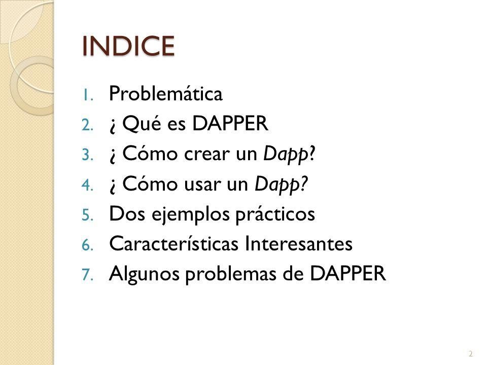 INDICE 1. Problemática 2. ¿ Qué es DAPPER 3. ¿ Cómo crear un Dapp.
