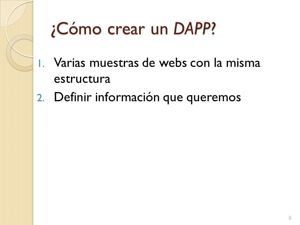 1. Varias muestras de webs con la misma estructura 2. Definir información que queremos 8
