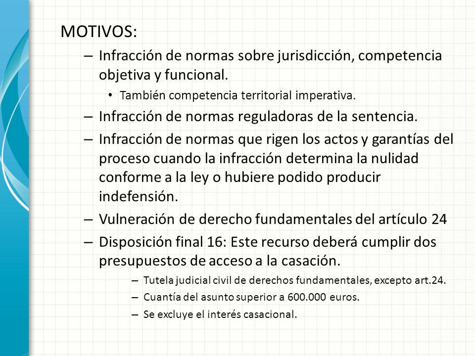 MOTIVOS: – Infracción de normas sobre jurisdicción, competencia objetiva y funcional.