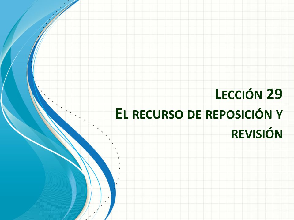 L ECCIÓN 29 E L RECURSO DE REPOSICIÓN Y REVISIÓN