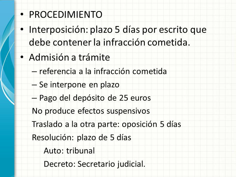 PROCEDIMIENTO Interposición: plazo 5 días por escrito que debe contener la infracción cometida.