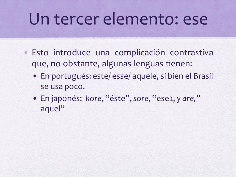 Un tercer elemento: ese Esto introduce una complicación contrastiva que, no obstante, algunas lenguas tienen: En portugués: este/ esse/ aquele, si bie