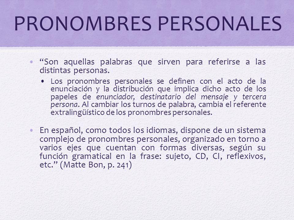 PRONOMBRES PERSONALES Son aquellas palabras que sirven para referirse a las distintas personas. Los pronombres personales se definen con el acto de la