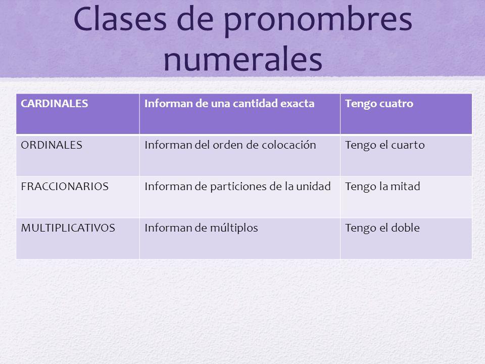 Clases de pronombres numerales CARDINALESInforman de una cantidad exactaTengo cuatro ORDINALESInforman del orden de colocaciónTengo el cuarto FRACCION