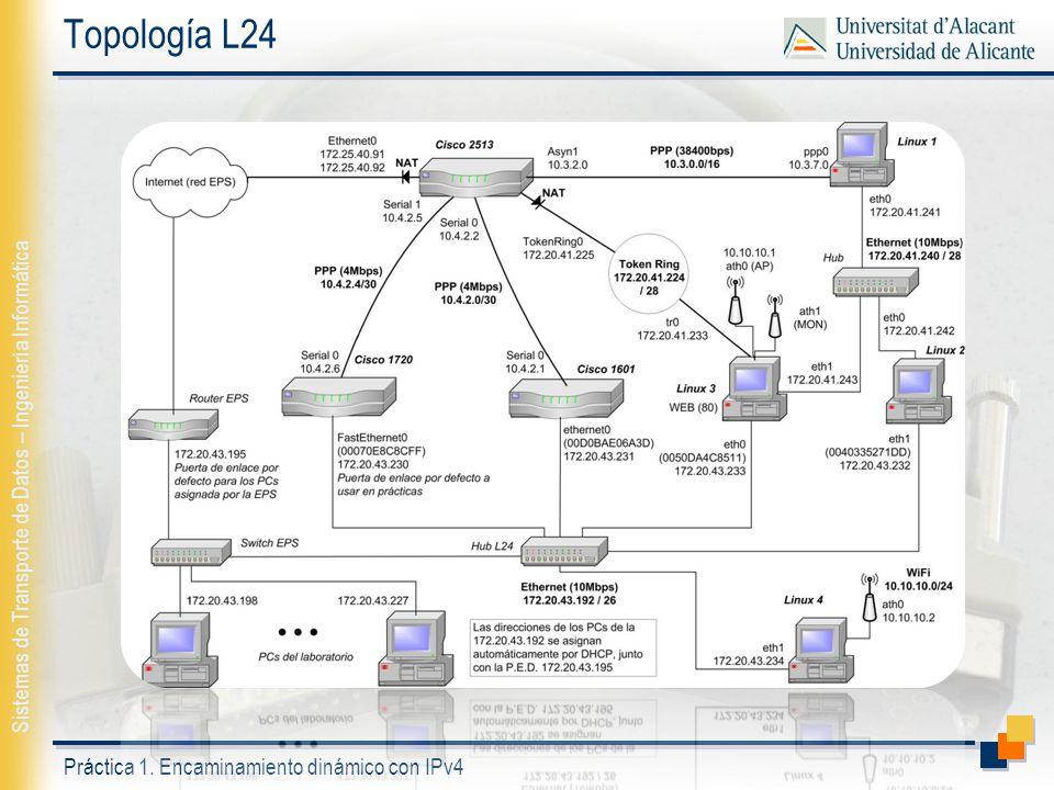 Práctica 1. Encaminamiento dinámico con IPv4 Sistemas de Transporte de Datos – Ingeniería Informática Topología L24