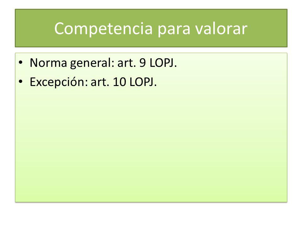 Competencia para valorar Norma general: art. 9 LOPJ. Excepción: art. 10 LOPJ. Norma general: art. 9 LOPJ. Excepción: art. 10 LOPJ.