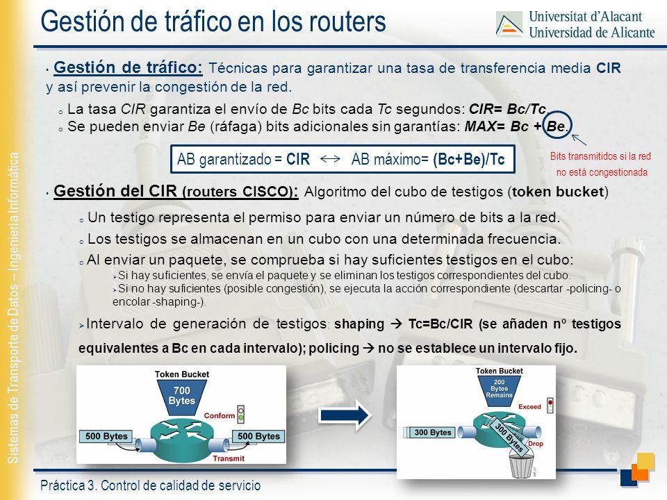Práctica 3. Control de calidad de servicio Sistemas de Transporte de Datos – Ingeniería Informática Gestión de tráfico en los routers Gestión de tráfi