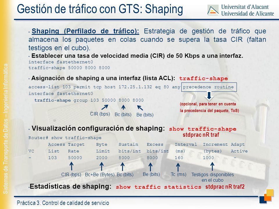 Práctica 3. Control de calidad de servicio Sistemas de Transporte de Datos – Ingeniería Informática Gestión de tráfico con GTS: Shaping Shaping (Perfi