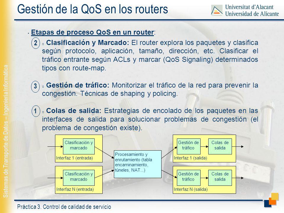 Práctica 3. Control de calidad de servicio Sistemas de Transporte de Datos – Ingeniería Informática Gestión de la QoS en los routers Etapas de proceso
