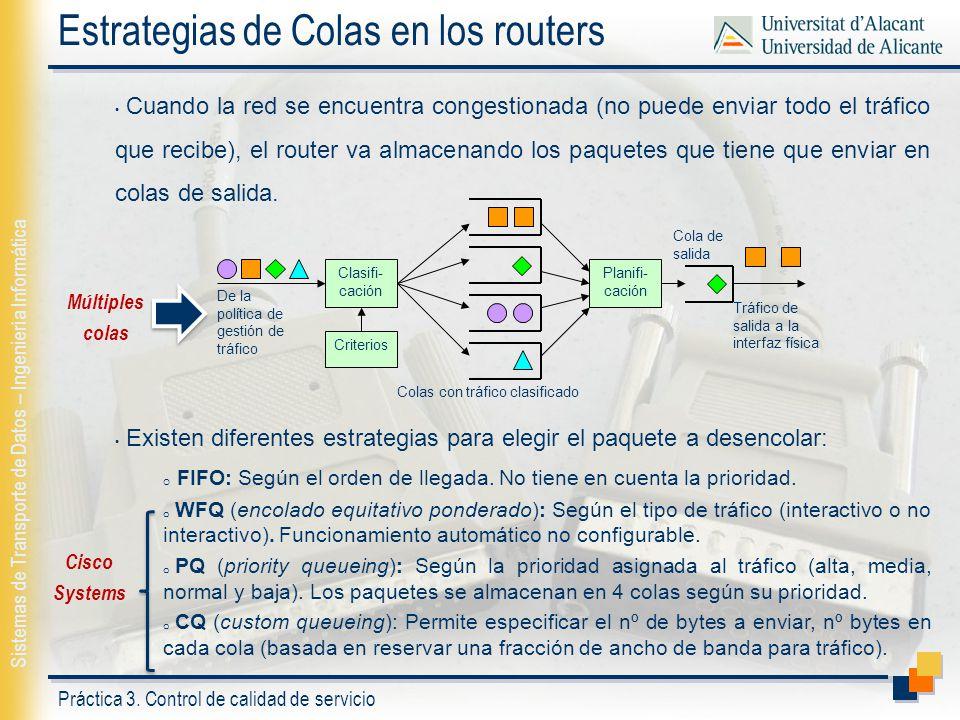 Práctica 3. Control de calidad de servicio Sistemas de Transporte de Datos – Ingeniería Informática Estrategias de Colas en los routers Cuando la red