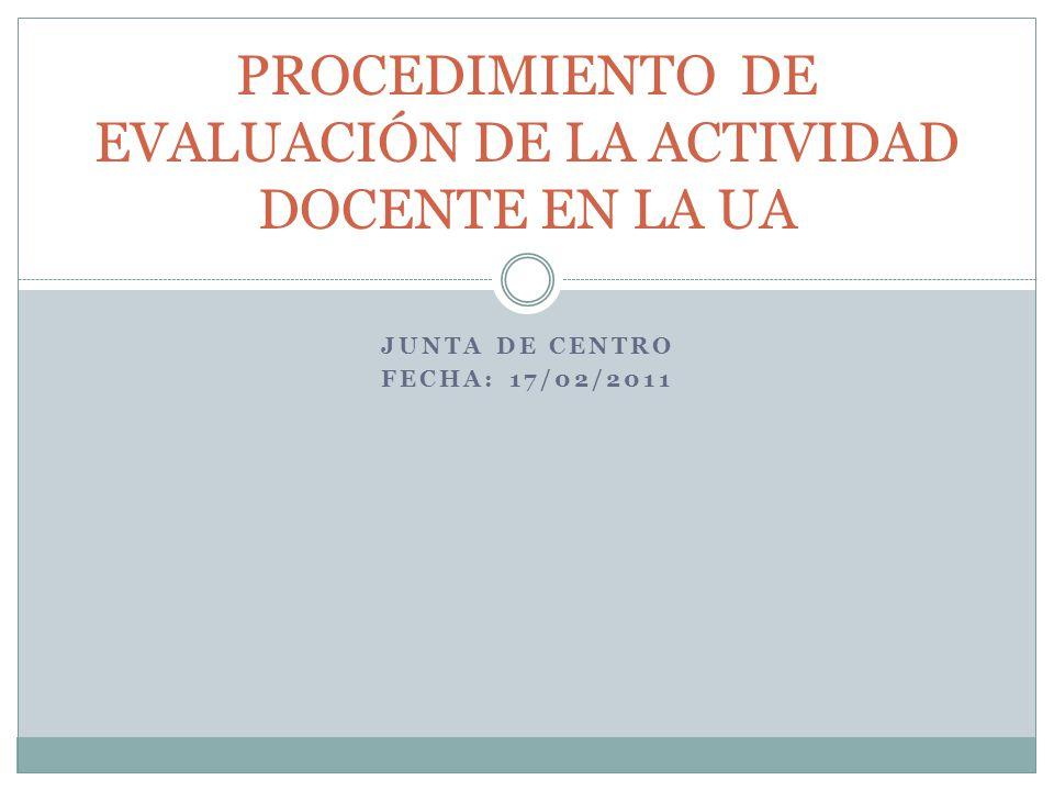 JUNTA DE CENTRO FECHA: 17/02/2011 PROCEDIMIENTO DE EVALUACIÓN DE LA ACTIVIDAD DOCENTE EN LA UA