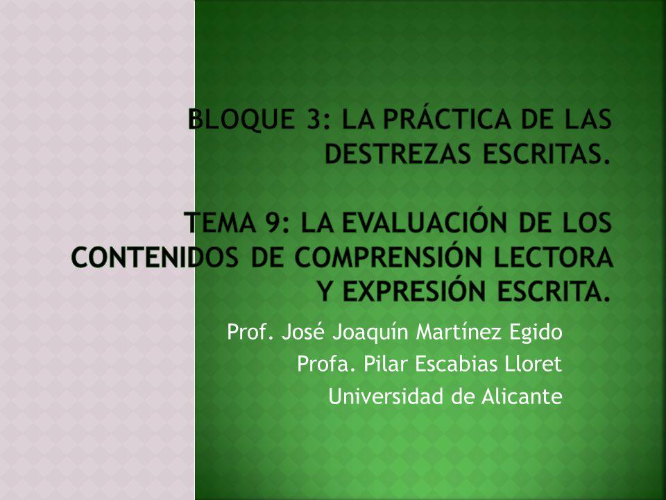Prof. José Joaquín Martínez Egido Profa. Pilar Escabias Lloret Universidad de Alicante