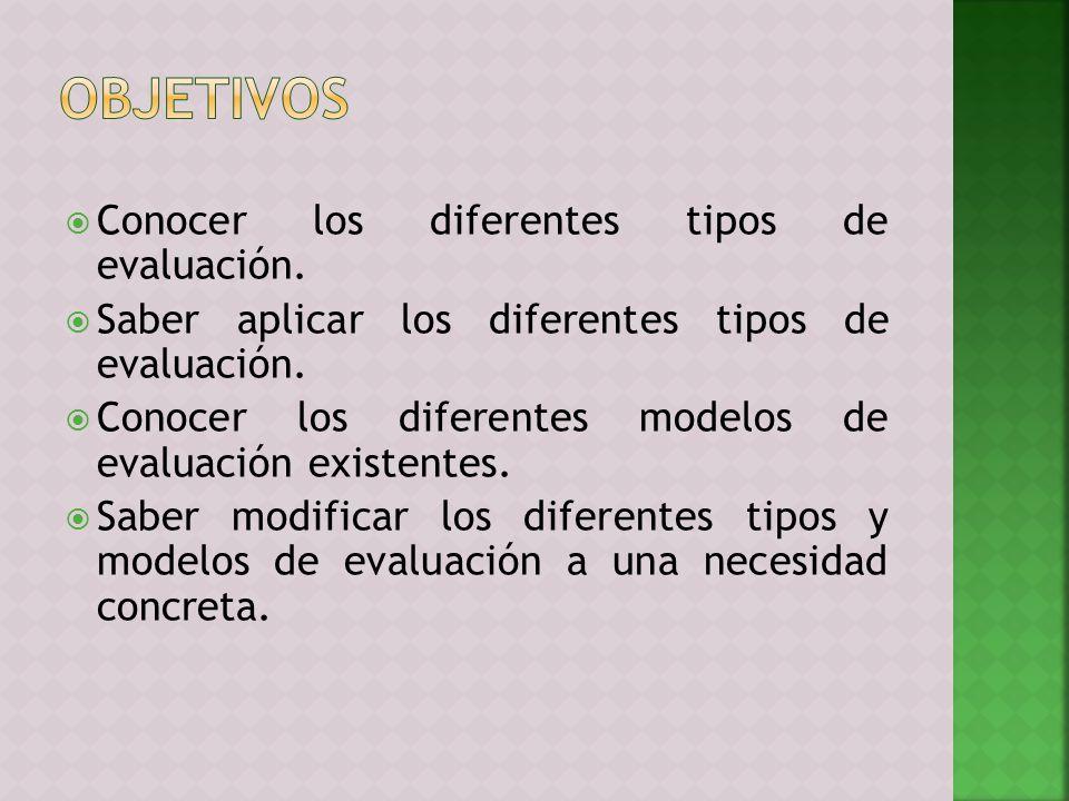 Conocer los diferentes tipos de evaluación. Saber aplicar los diferentes tipos de evaluación. Conocer los diferentes modelos de evaluación existentes.