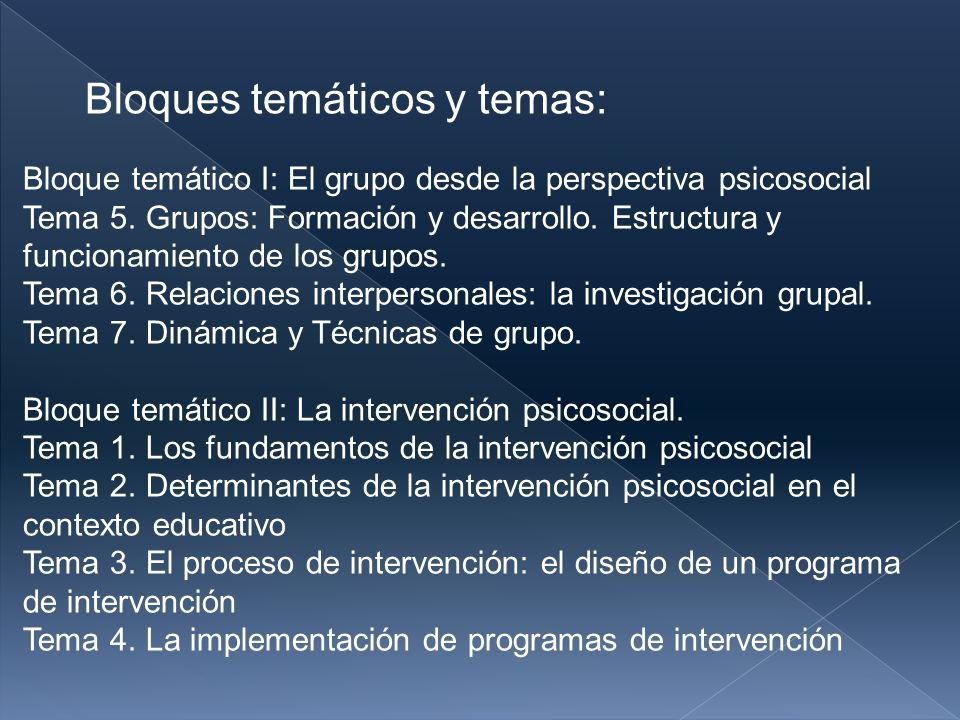 Bloque temático I: El grupo desde la perspectiva psicosocial Tema 5.