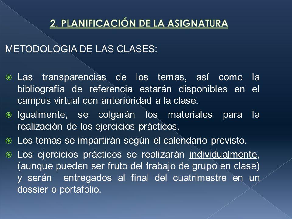 METODOLOGIA DE LAS CLASES: Las transparencias de los temas, así como la bibliografía de referencia estarán disponibles en el campus virtual con anterioridad a la clase.