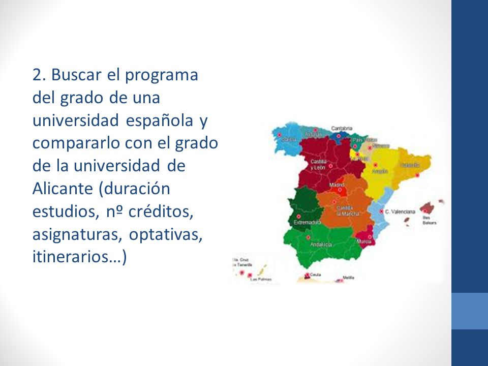 2. Buscar el programa del grado de una universidad española y compararlo con el grado de la universidad de Alicante (duración estudios, nº créditos, a
