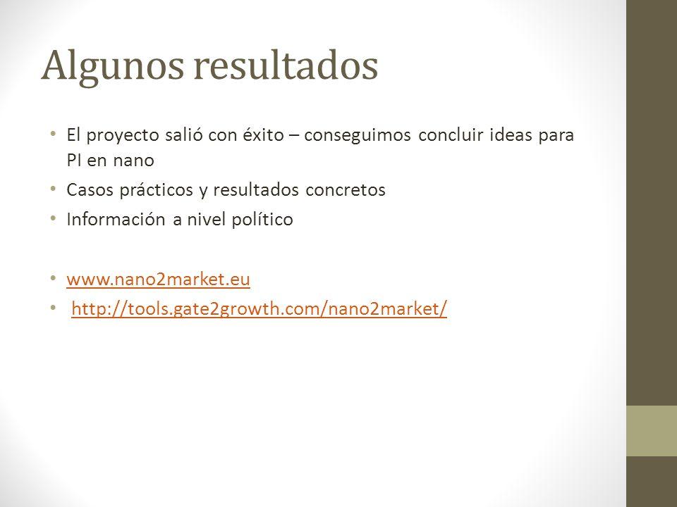 Algunos resultados El proyecto salió con éxito – conseguimos concluir ideas para PI en nano Casos prácticos y resultados concretos Información a nivel político www.nano2market.eu http://tools.gate2growth.com/nano2market/