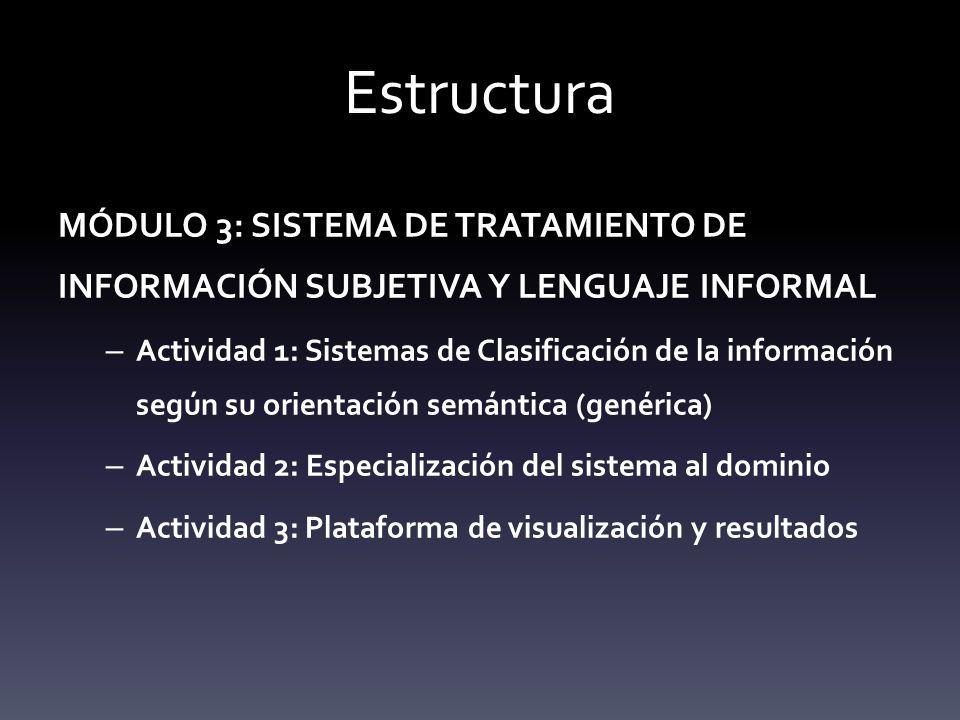 Estructura MÓDULO 3: SISTEMA DE TRATAMIENTO DE INFORMACIÓN SUBJETIVA Y LENGUAJE INFORMAL – Actividad 1: Sistemas de Clasificación de la información según su orientación semántica (genérica) – Actividad 2: Especialización del sistema al dominio – Actividad 3: Plataforma de visualización y resultados
