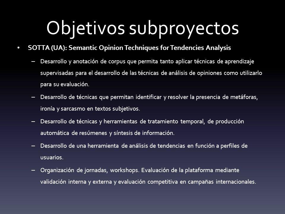 Objetivos subproyectos SOTTA (UA): Semantic Opinion Techniques for Tendencies Analysis – Desarrollo y anotación de corpus que permita tanto aplicar técnicas de aprendizaje supervisadas para el desarrollo de las técnicas de análisis de opiniones como utilizarlo para su evaluación.