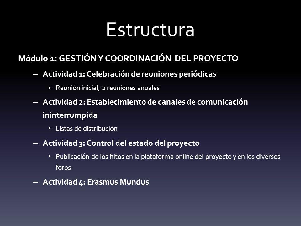 Estructura Módulo 1: GESTIÓN Y COORDINACIÓN DEL PROYECTO – Actividad 1: Celebración de reuniones periódicas Reunión inicial, 2 reuniones anuales – Actividad 2: Establecimiento de canales de comunicación ininterrumpida Listas de distribución – Actividad 3: Control del estado del proyecto Publicación de los hitos en la plataforma online del proyecto y en los diversos foros – Actividad 4: Erasmus Mundus