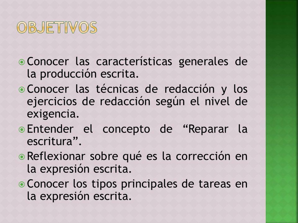 Conocer las características generales de la producción escrita. Conocer las técnicas de redacción y los ejercicios de redacción según el nivel de exig
