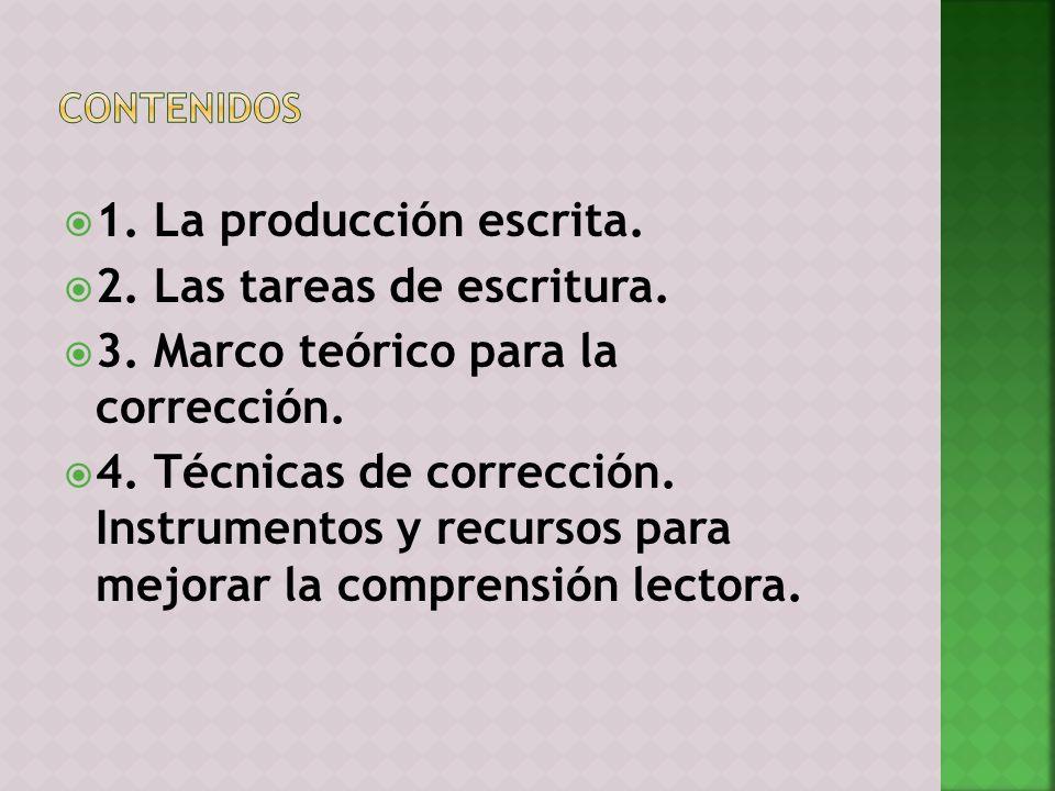 1. La producción escrita. 2. Las tareas de escritura. 3. Marco teórico para la corrección. 4. Técnicas de corrección. Instrumentos y recursos para mej