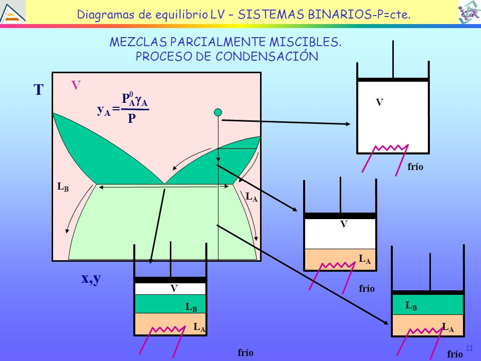 11 TEMA 4: EQUILIBRIO LÍQUIDO VAPOR MEZCLAS PARCIALMENTE MISCIBLES.