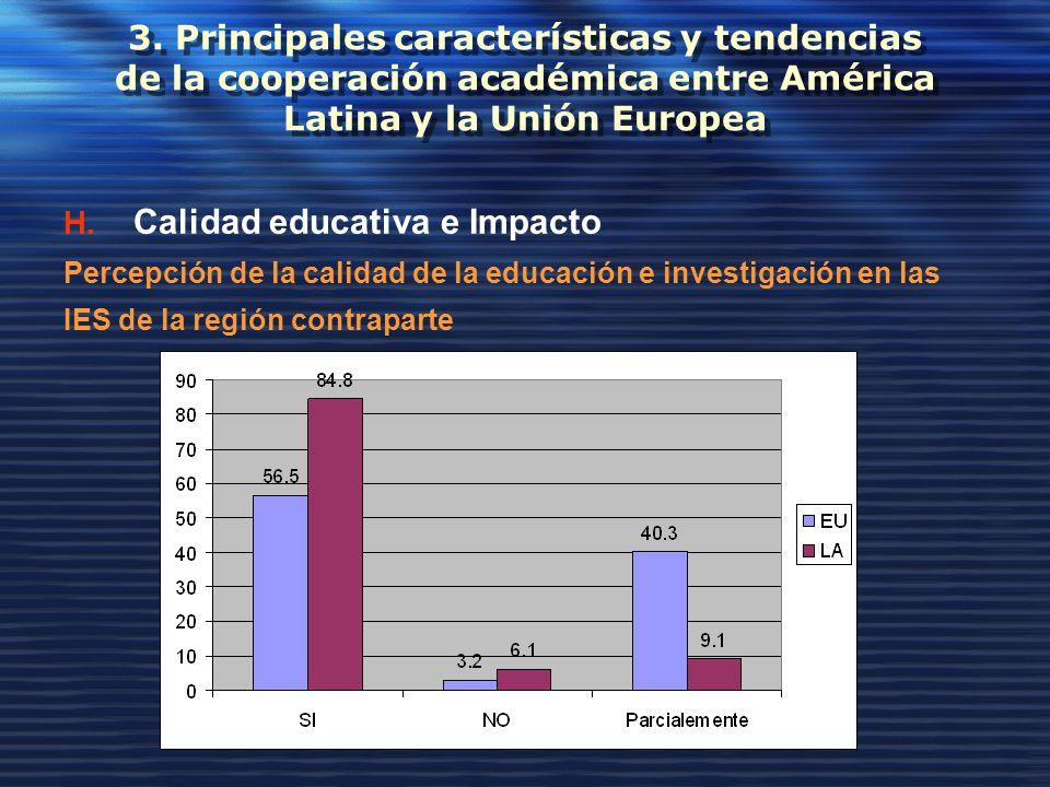 3. Principales características y tendencias de la cooperación académica entre América Latina y la Unión Europea H. Calidad educativa e Impacto Percepc