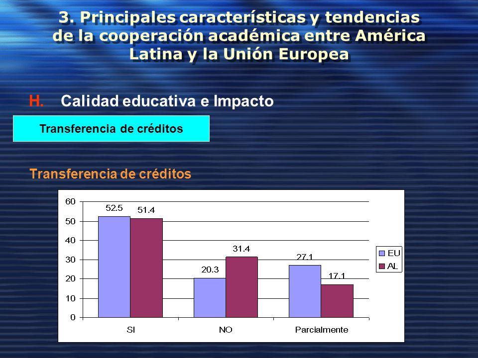 3. Principales características y tendencias de la cooperación académica entre América Latina y la Unión Europea H.Calidad educativa e Impacto Transfer