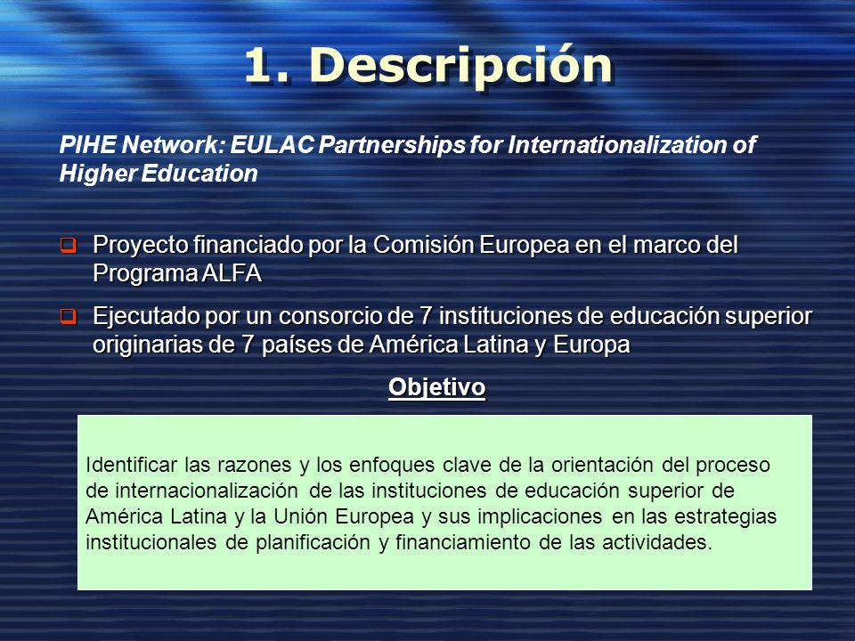 1. Descripción PIHE Network: EULAC Partnerships for Internationalization of Higher Education Proyecto financiado por la Comisión Europea en el marco d
