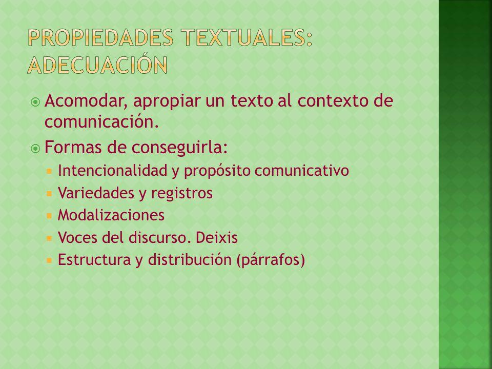 Acomodar, apropiar un texto al contexto de comunicación. Formas de conseguirla: Intencionalidad y propósito comunicativo Variedades y registros Modali