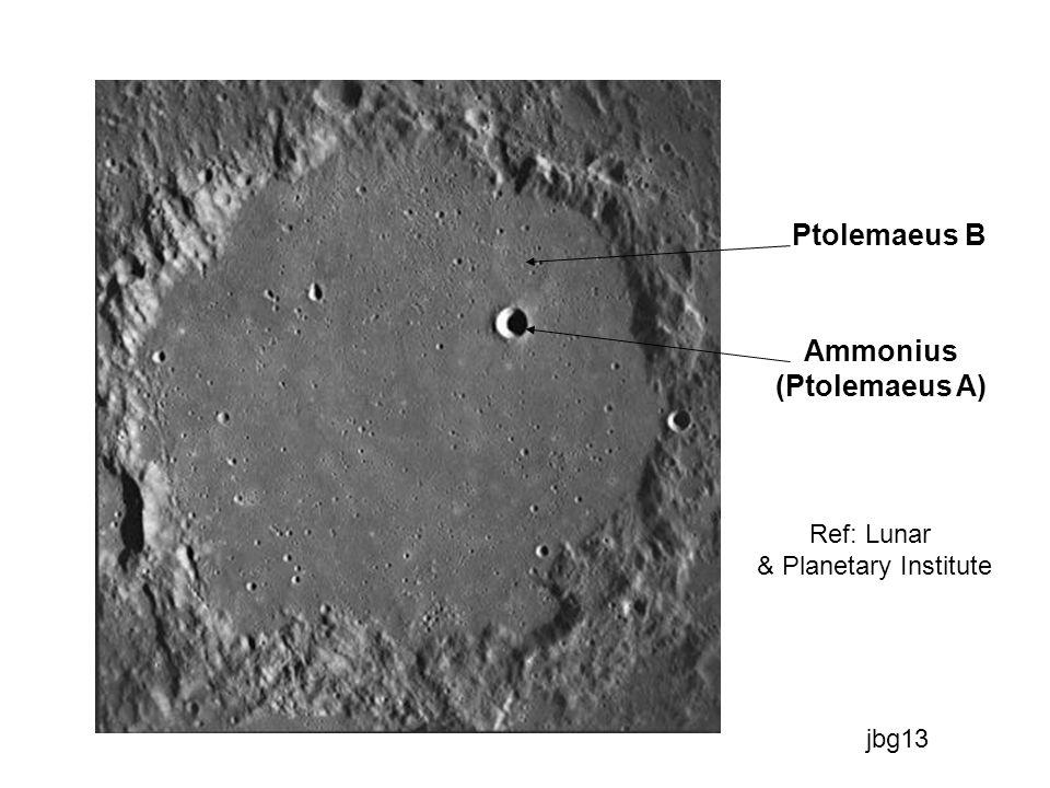 El cráter AMMONIUS (ø9Km) es obviamente uno de estos; en forma de tazón, se encuentra a unos 30kms al Noreste del centro de PTOLEMAEUS y era conocido como PTOLEMAEUS A antes de 1976 (rectificación de la Unión Astronómica Internacional).