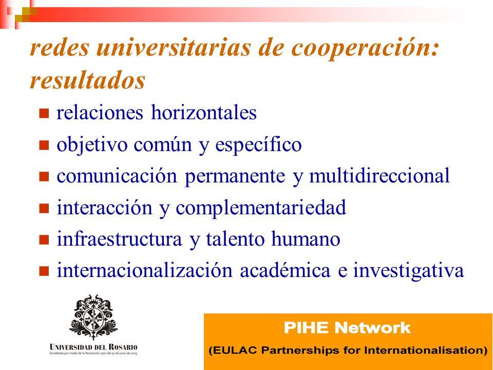 redes universitarias de cooperación: resultados relaciones horizontales objetivo común y específico comunicación permanente y multidireccional interac