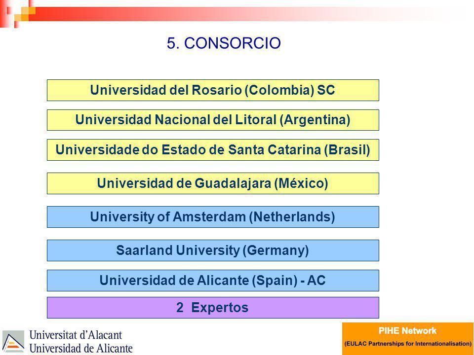 5. CONSORCIO Universidad del Rosario (Colombia) SC Universidad Nacional del Litoral (Argentina) Saarland University (Germany) Universidad de Alicante