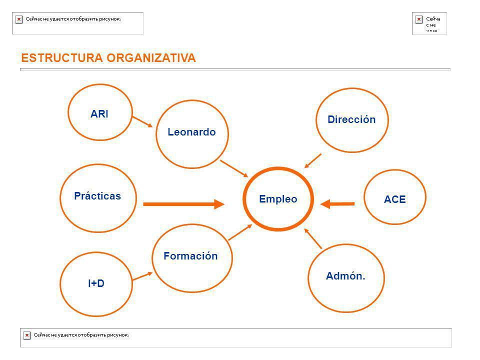 ESTRUCTURA ORGANIZATIVA Empleo Prácticas Formación Leonardo I+D ARI ACE Dirección Admón.