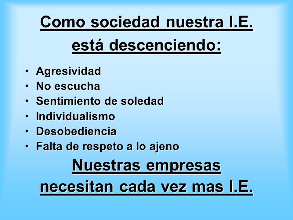 Como sociedad nuestra I.E.