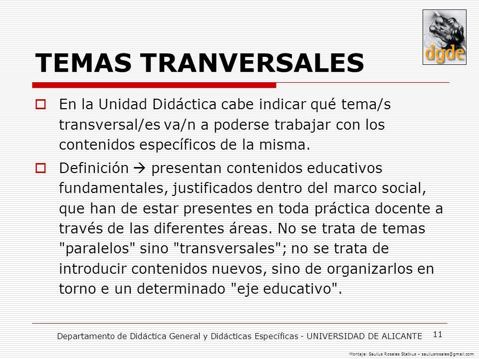 11 TEMAS TRANVERSALES En la Unidad Didáctica cabe indicar qué tema/s transversal/es va/n a poderse trabajar con los contenidos específicos de la misma