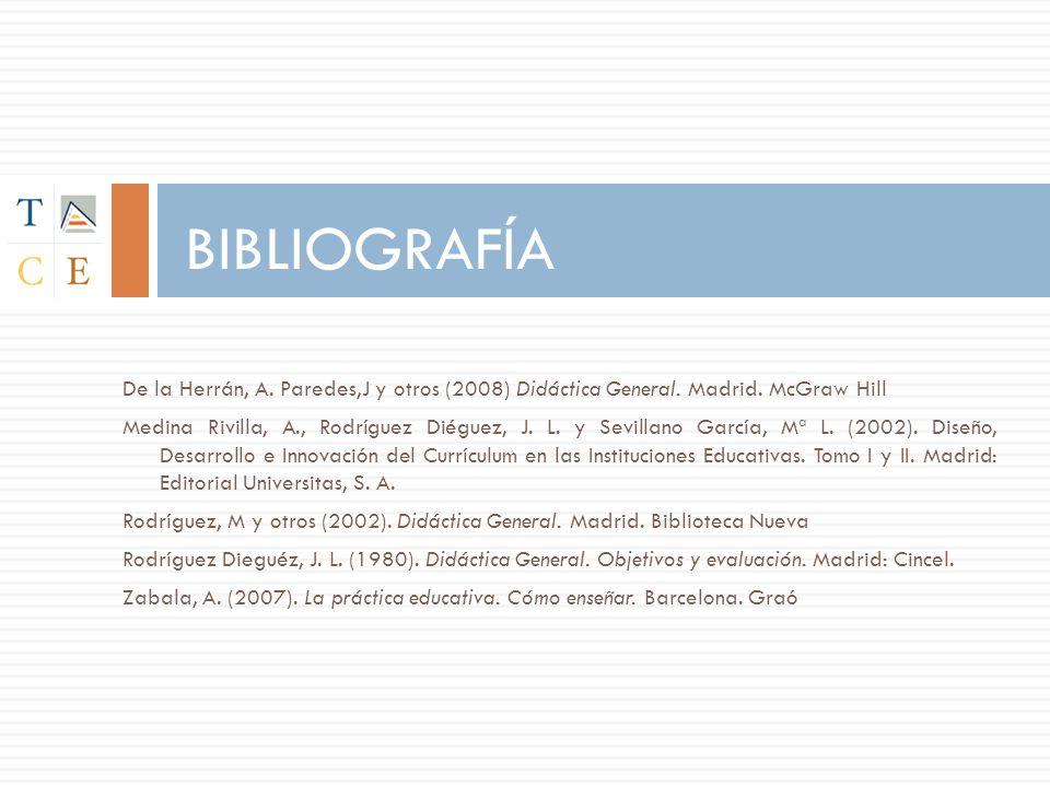De la Herrán, A. Paredes,J y otros (2008) Didáctica General. Madrid. McGraw Hill Medina Rivilla, A., Rodríguez Diéguez, J. L. y Sevillano García, Mª L