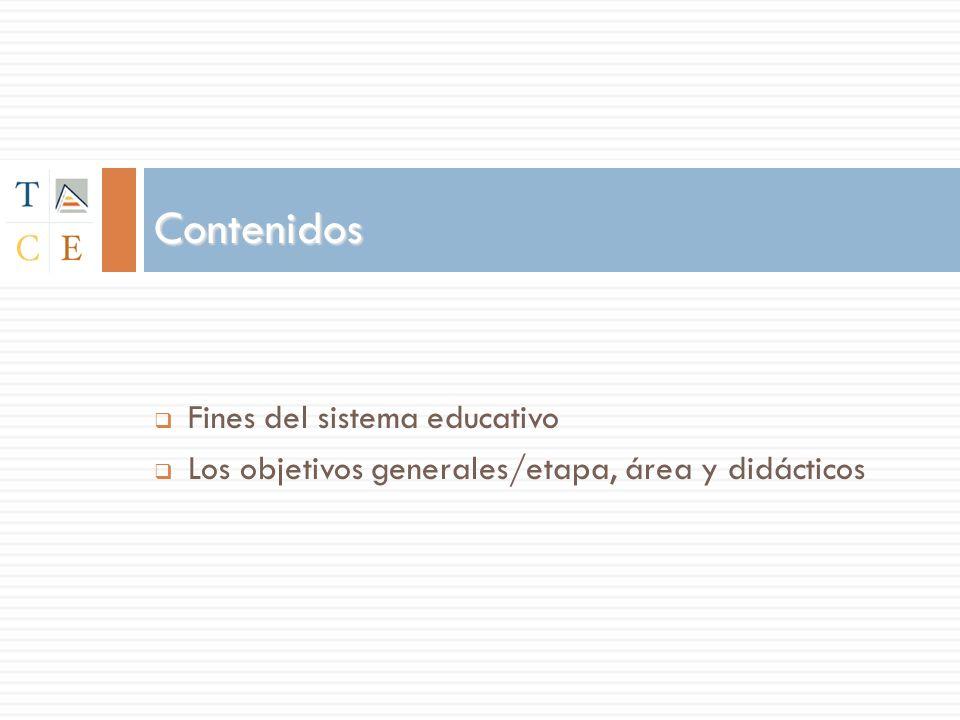 Fines del sistema educativo Los objetivos generales/etapa, área y didácticos Contenidos