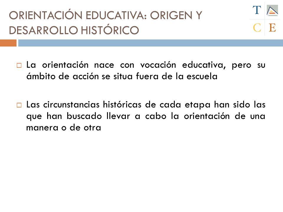 La orientación nace con vocación educativa, pero su ámbito de acción se situa fuera de la escuela Las circunstancias históricas de cada etapa han sido